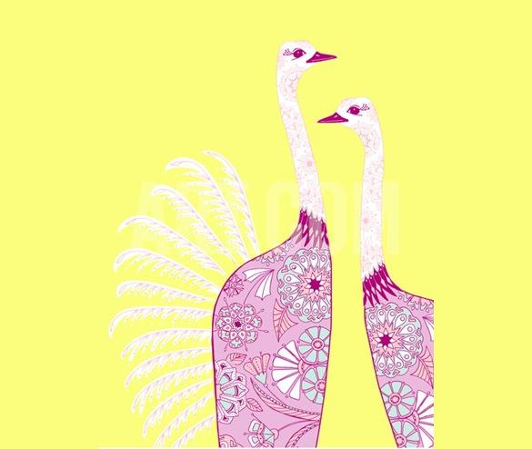 ostrich girls geometric birt art design