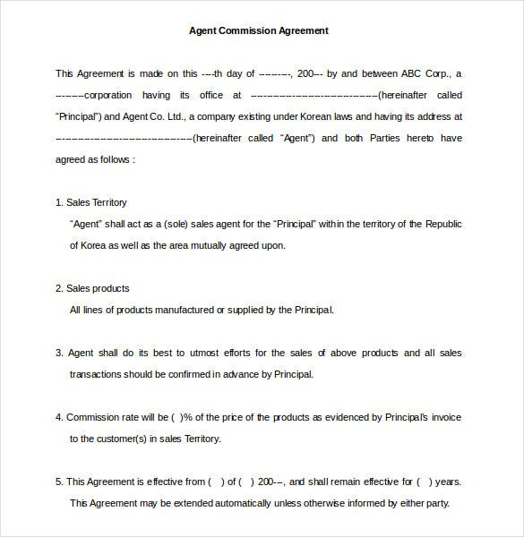 Commission Agreement Template 12 Free Word PDF Documents – Booking Agent Contract Template