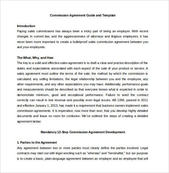 Guideline For Commission Agreement Template Word Document