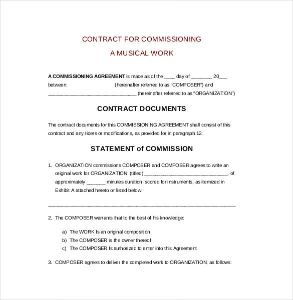 workers contract template - commission agreement template 22 free word pdf