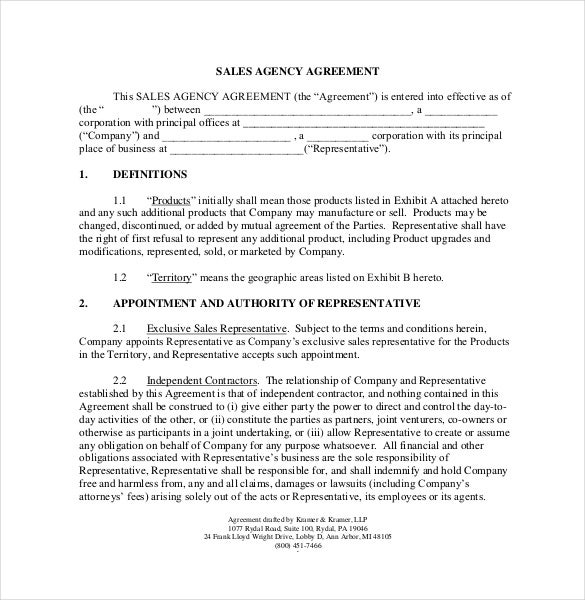 Commission agreement template 22 free word pdf for Manufacturers rep agreement template