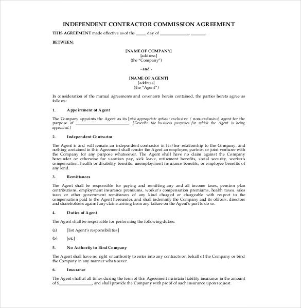 Commission Agreement Template 22 Free Word Pdf Documents