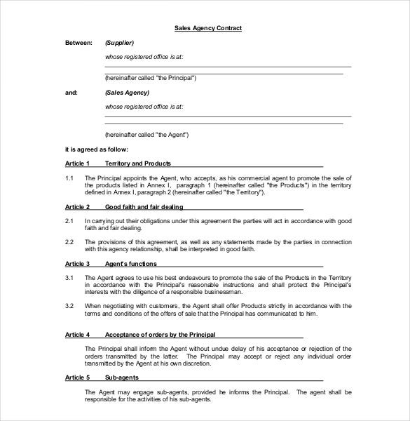 Sample Agency Agreement Sample Sales Agreement Template Free