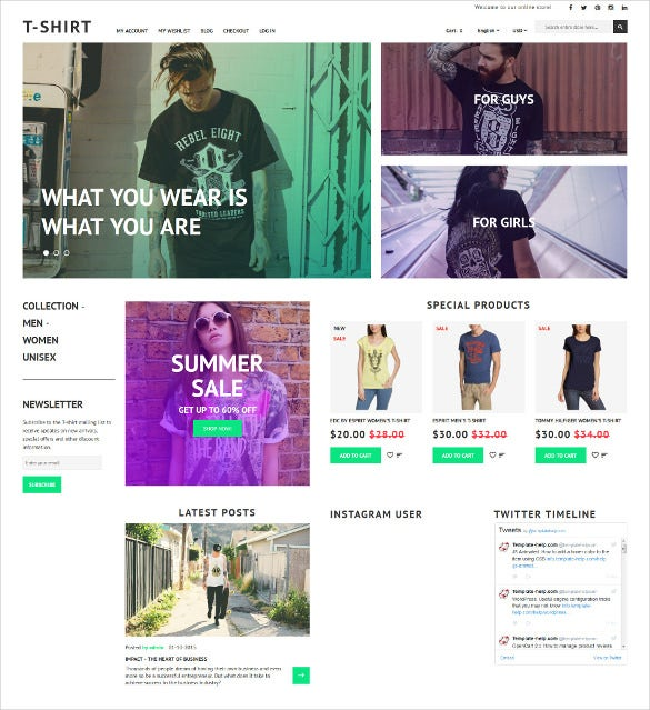 t shirt shop responsive magento blog theme