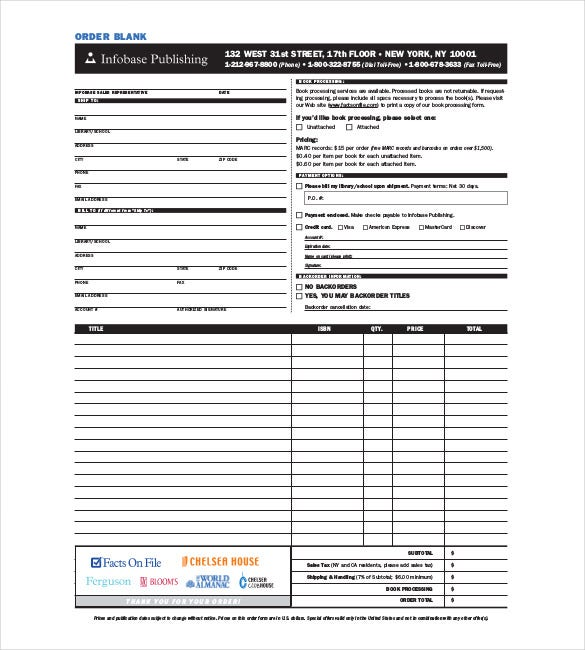 Blank Order Form Templates u2013 44+ Word, Excel, PDF Document ...