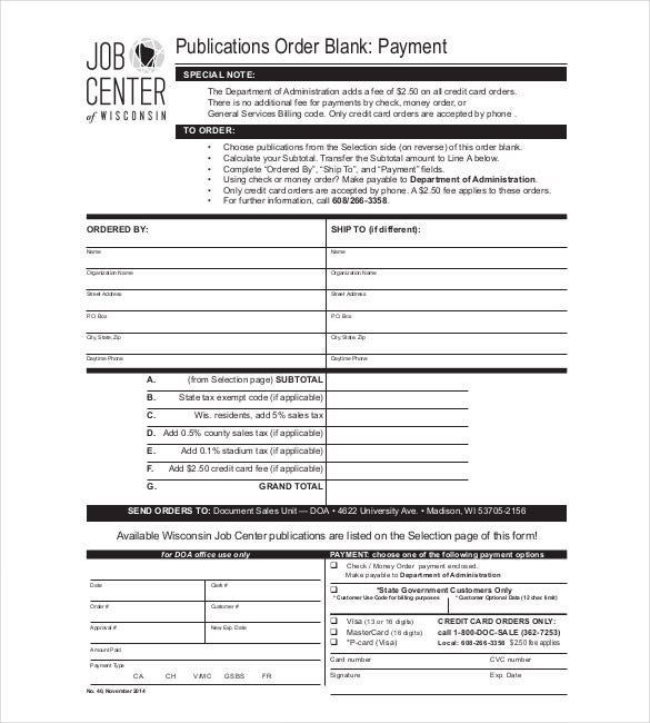 Blank Order Form Templates 44 Word Excel PDF Document Download