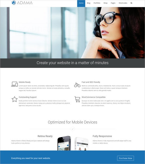 adama responsive multi purpose wordpress blog theme