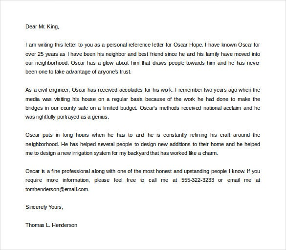 Charming Sample Personal Reference Letter Of Recommendation For Personal Letter Templates