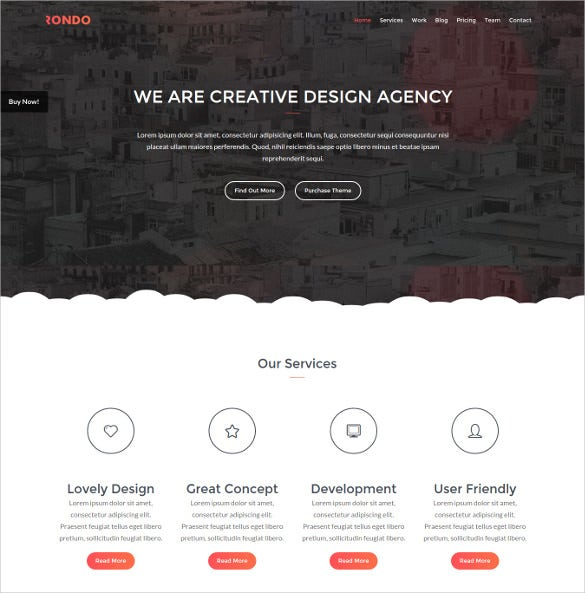 rondo responsive one page blog template