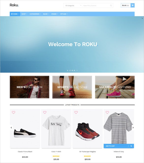 roku responsive woocommerce blog theme