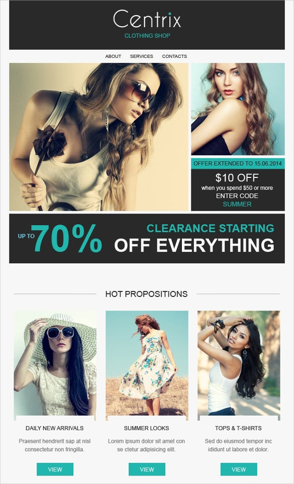 fashion store responsive newsletter website template