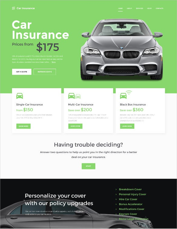 car insurance responsive html5 website template
