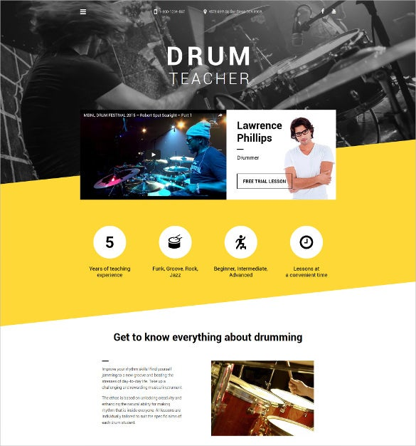 drum teacher html5 website template