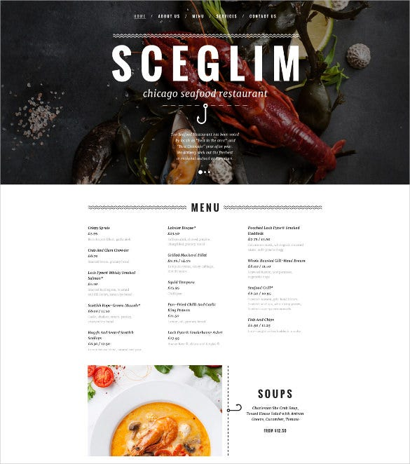 seafood restaurant responsive html5 website template