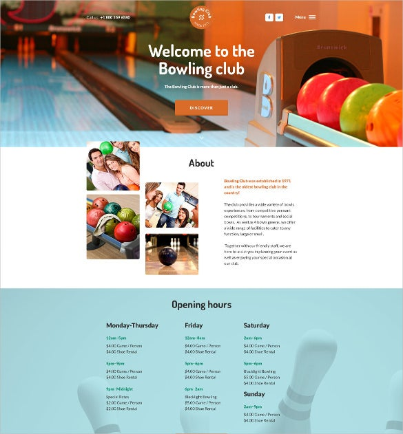 bowling club html5 website template