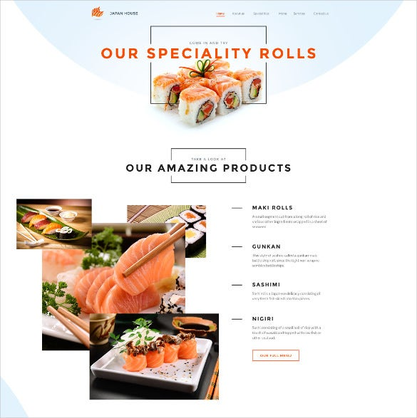 sushi bar responsive html5 website template