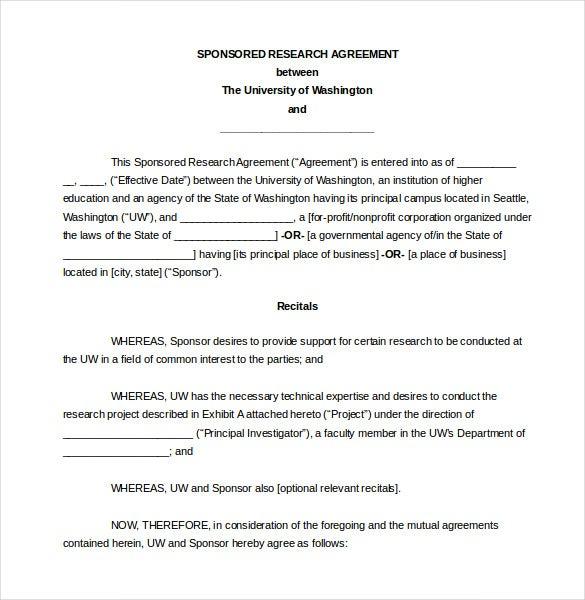 Sponserd Research Legal Agreement Template Word Document  Agreement Template Word