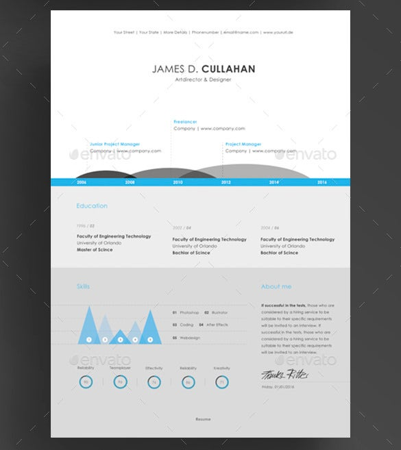 3 Piece Infographic Resume Template PSD Download