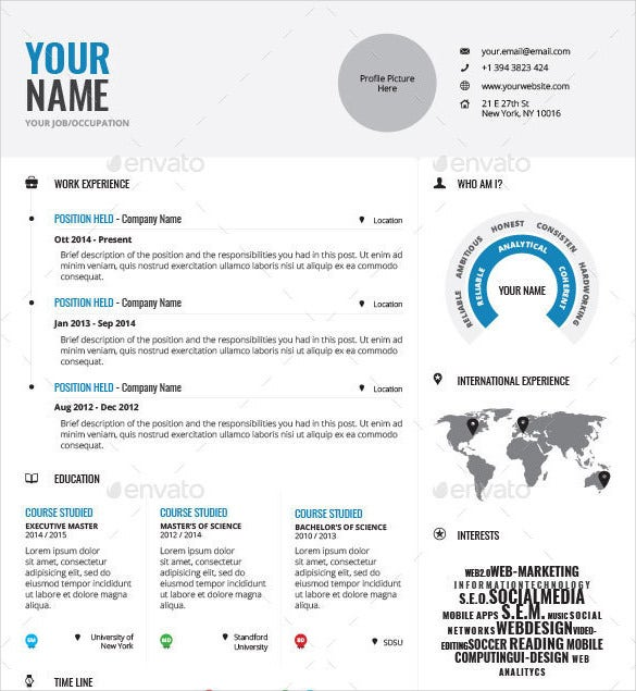 professionally designed infographic resume template indd format download