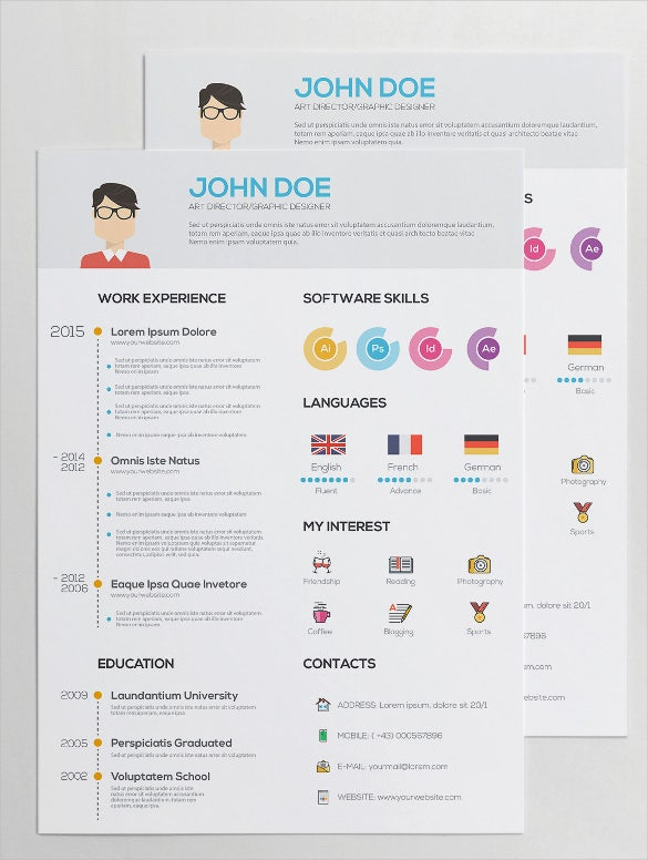flat resume with infographics ai illustrator download - Graphic Design Resume Template