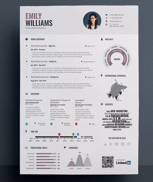 Sample Editable In Eps Infographic Resume Template