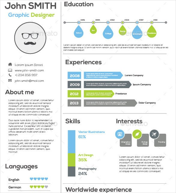 flat simple infographic resume template ai format download - Free Sample Of Resume Format