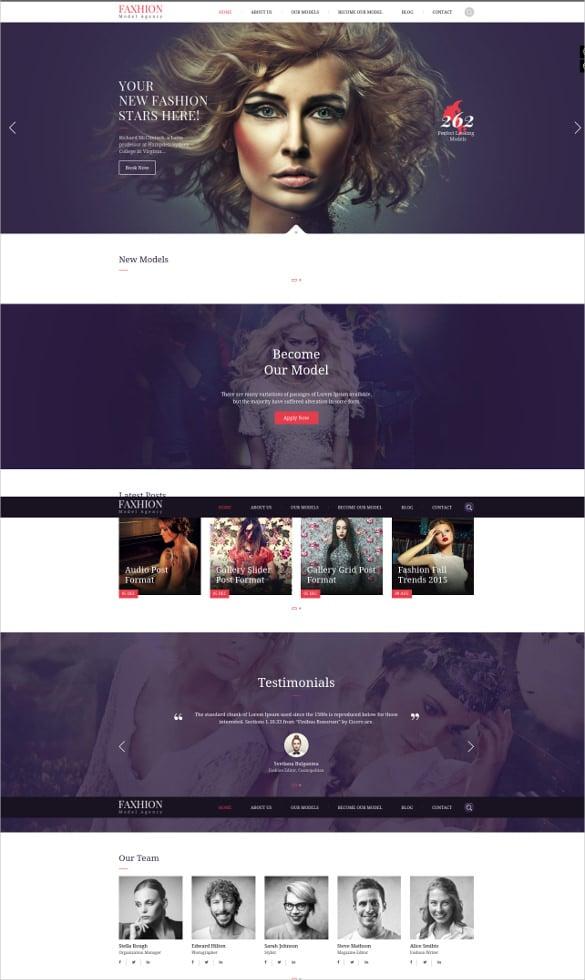fashion model agency wordpress website theme