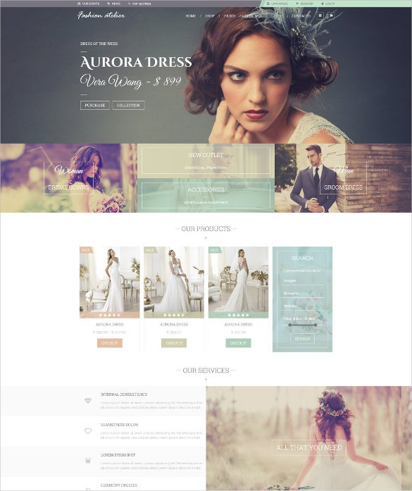wedding fashion bridal groom shop website theme