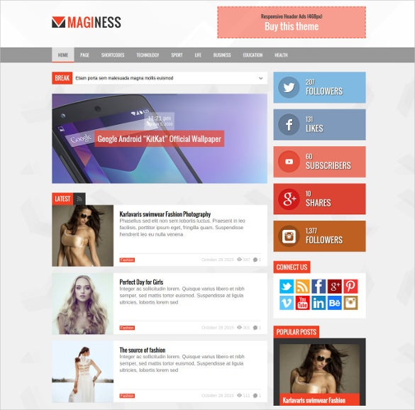maginess magazine html5 template