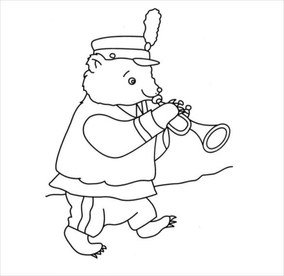 funny bear with instrument free pdf template download