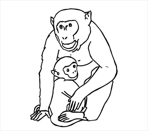 funny monkey animal pdf template download