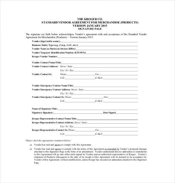 standard vendor agreement template