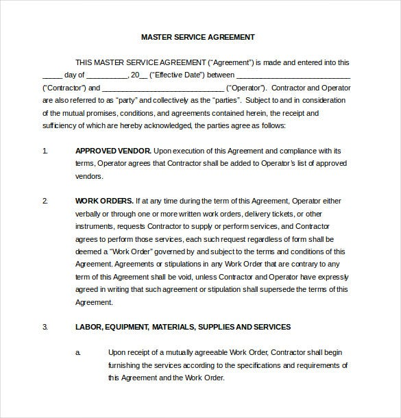 Vendor Agreement Template 12 Free Word PDF Documents Download – Sample Master Service Agreement