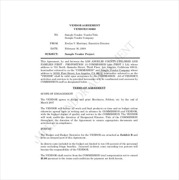 Vendor Agreement Template   Free Word Pdf Documents Download