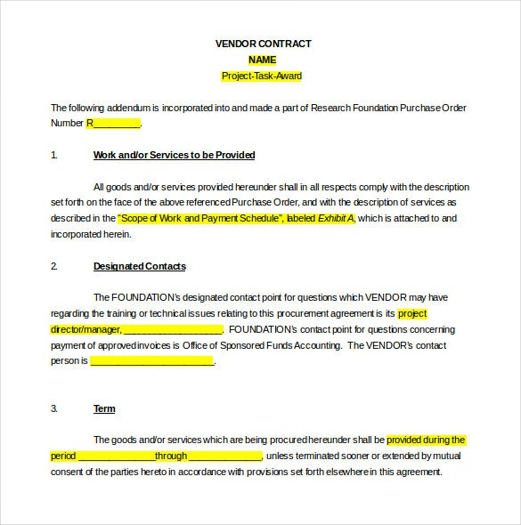 Vendor Agreement Template 12 Free Word PDF Documents Download – Free Service Agreement Template