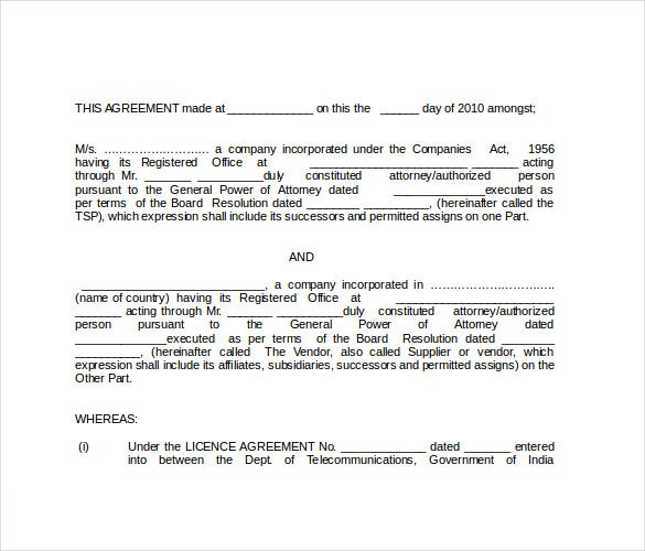 Vendor Agreement Format  Vendor Agreement Templates Free Sample