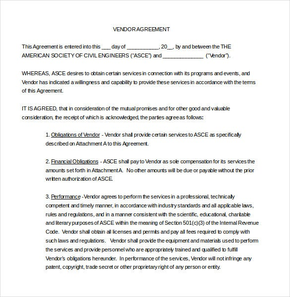 Vendor Agreement Template 12 Free Word PDF Documents Download – Food Vendor Contract