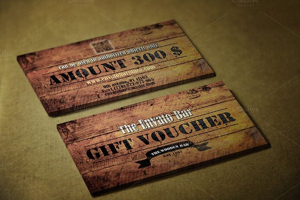 wooden style gift voucher template download