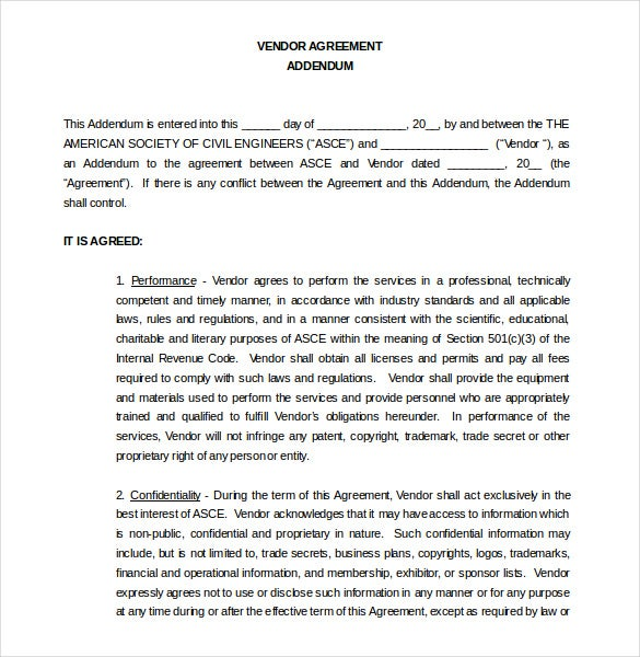 Contract Agreement Vendor Contract Agreement Addendum Word Document