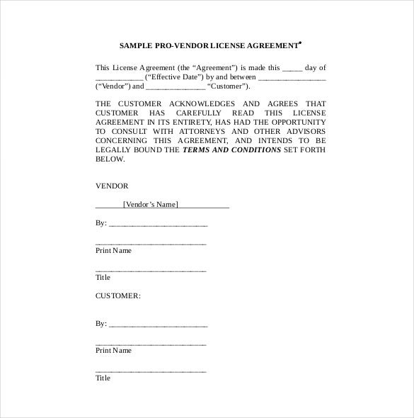 pro vendor license agreement template