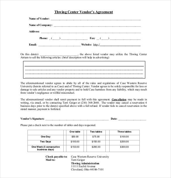 thwing center vendor's agreement
