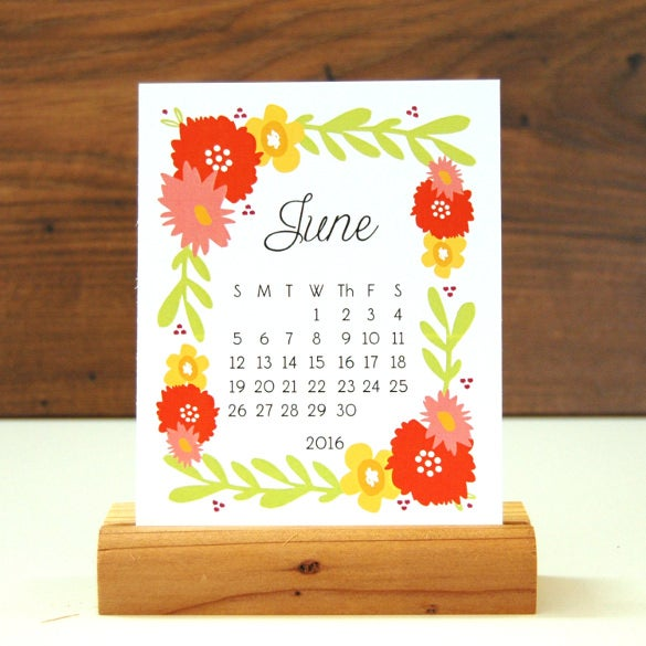 modern desk calendar