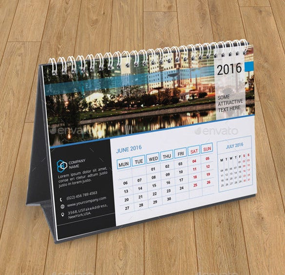 Table Calendar 2016 : Desk calendar template free psd ai indesign eps