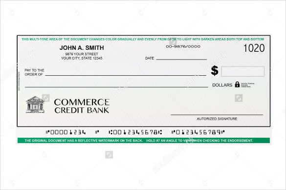 blank payment voucher banking check on a white background