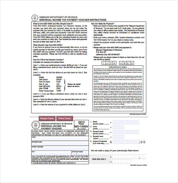 individual income tax payment voucher template download