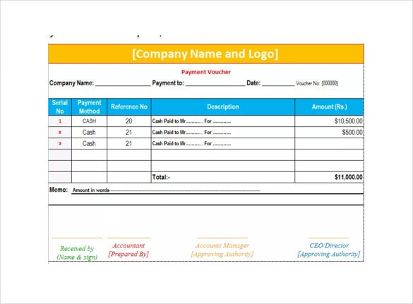Example Payment Voucher In Ms Excel Template Download  Payment Voucher Template