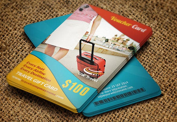 voucher card of travel template download