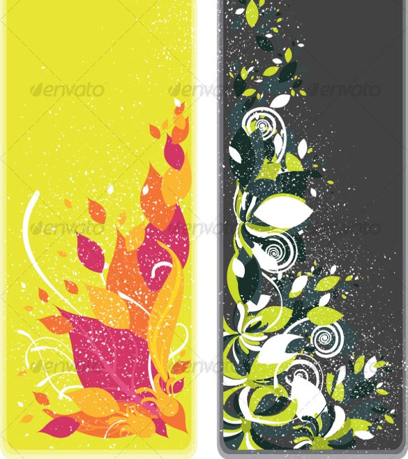 one set of beautiful two vertical floral bookmarks