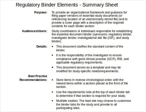 regulatory binder elements free download doc format