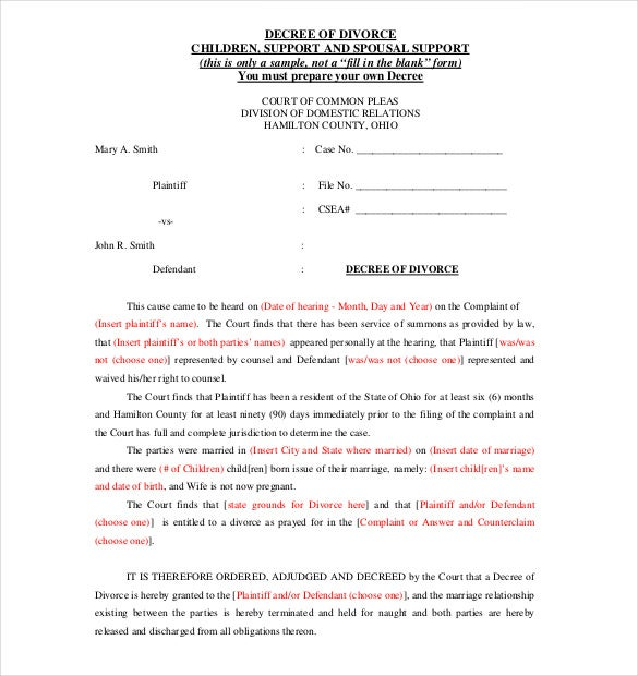 Divorce Agreement Template – 11+ Free Word, Pdf Documents Download